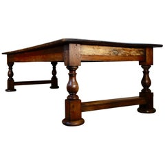 Large Historically Important 19th Century Oak Refectory Dining Table, Museum