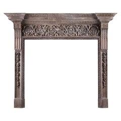 Large & Impressive Wood Fireplace