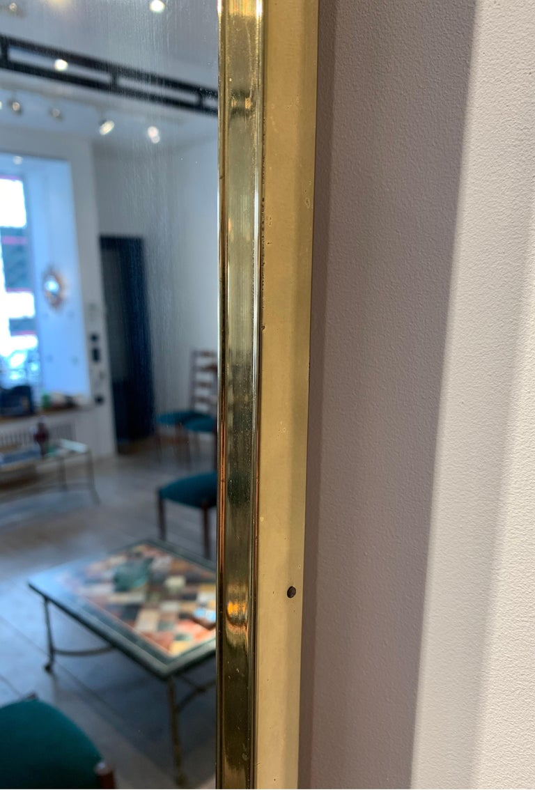 Large Italian Brass Mirror, 1950s In Good Condition For Sale In Brussels, BE