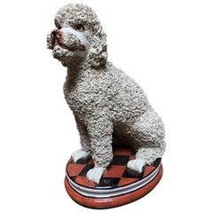 Large Mid-Century Italian Ceramic White Standard Poodle Spaghetti Dog Sculpture