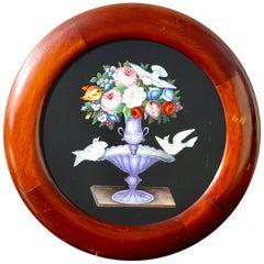 Large Italian Micromosaic Floral Round Panel