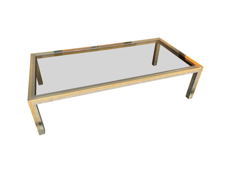 Large Italian Romeo Rega Crome and Brass Coffee Table with Smoked Glass Top For Sale 5