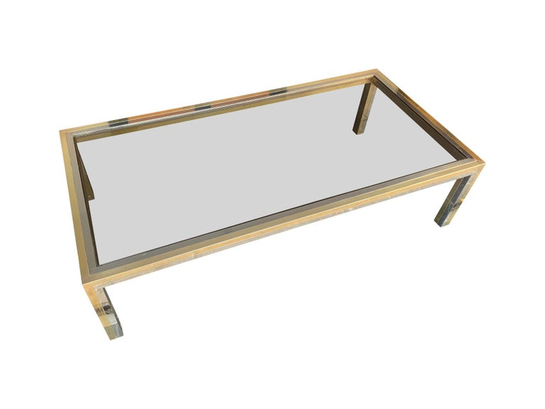 Large Italian Romeo Rega Crome and Brass Coffee Table with Smoked Glass Top For Sale 6