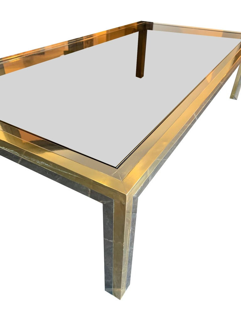 Mid-Century Modern Large Italian Romeo Rega Crome and Brass Coffee Table with Smoked Glass Top For Sale