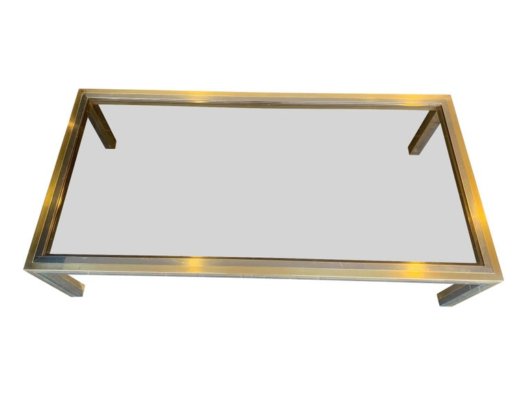 Large Italian Romeo Rega Crome and Brass Coffee Table with Smoked Glass Top In Good Condition For Sale In London, GB