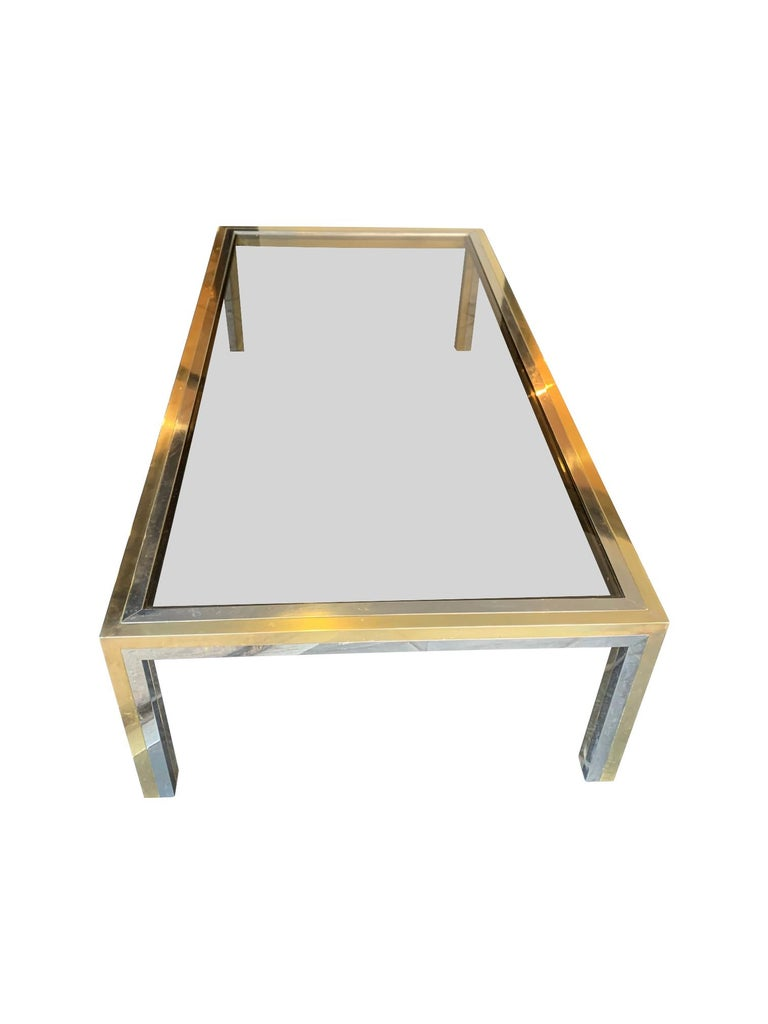 Large Italian Romeo Rega Crome and Brass Coffee Table with Smoked Glass Top For Sale 1