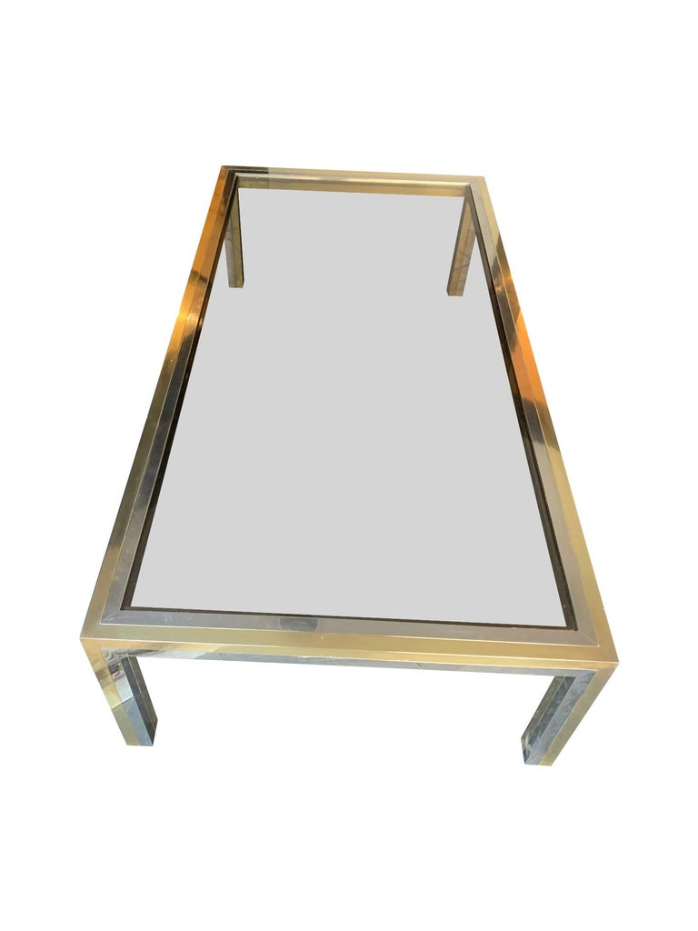 Large Italian Romeo Rega Crome and Brass Coffee Table with Smoked Glass Top For Sale 3