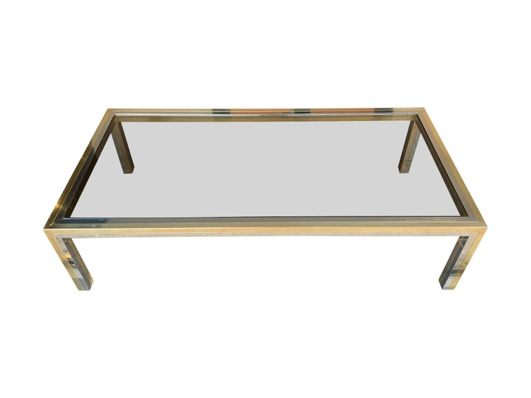 Large Italian Romeo Rega Crome and Brass Coffee Table with Smoked Glass Top For Sale 4