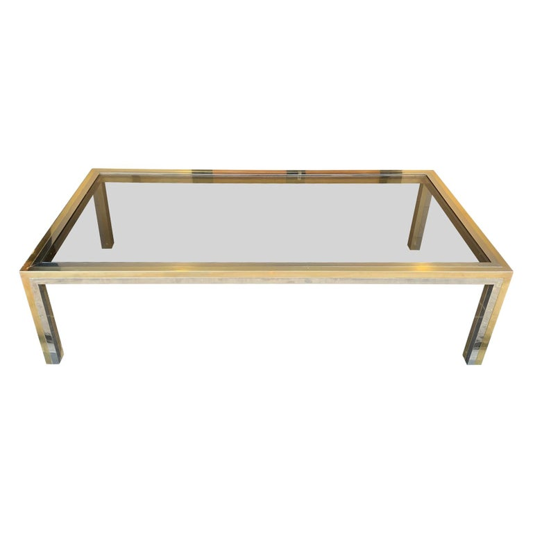 Large Italian Romeo Rega Crome and Brass Coffee Table with Smoked Glass Top For Sale