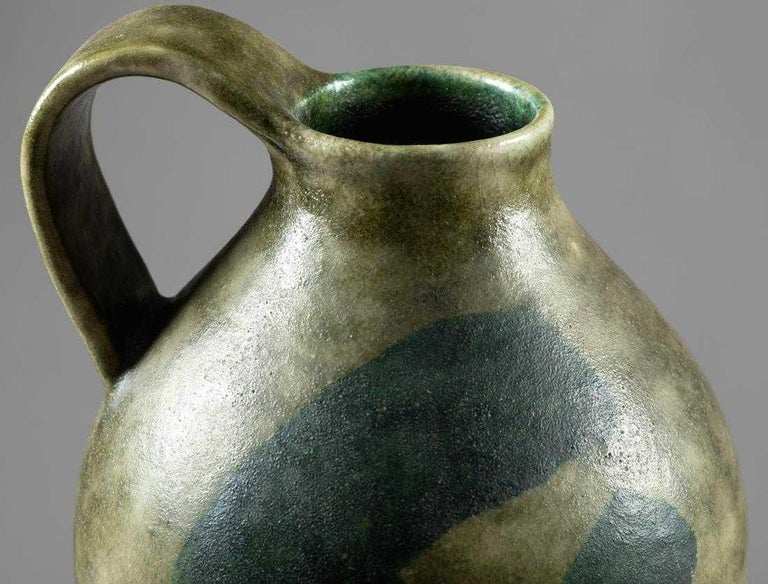 Large Italian Stoneware Pitcher by Guido Gambone In Good Condition For Sale In North Miami, FL