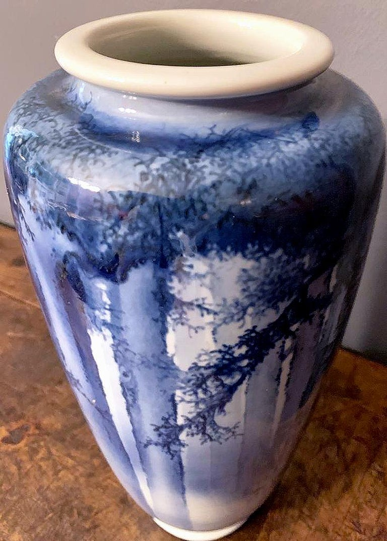 Porcelain Large Japanese Blue and White Vase by Mazuku Kozan Meiji Period For Sale