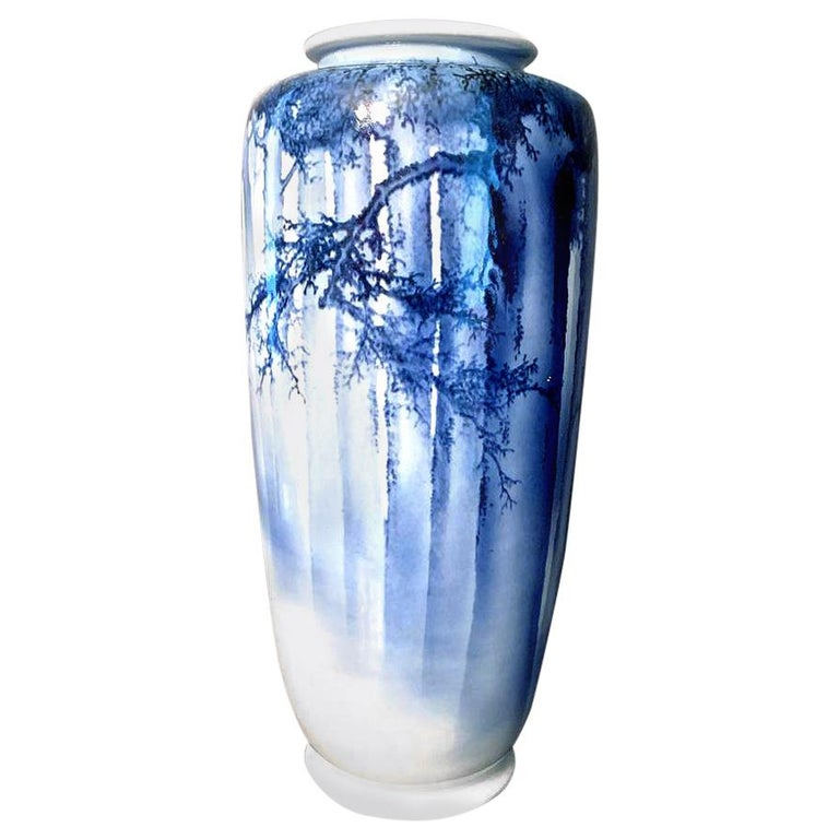 Large Japanese Blue and White Vase by Mazuku Kozan Meiji Period For Sale