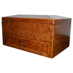 Large Late Regency Burr Elm and Boxwood Strung Work Box