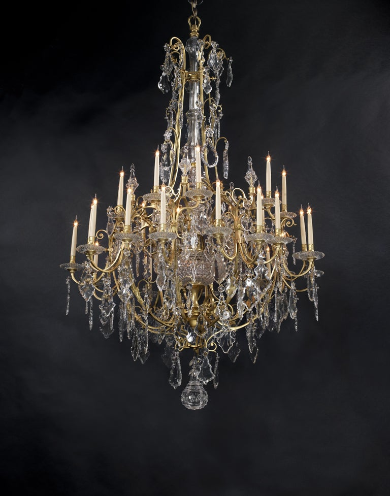 French Large Louis XV Style Cut-Glass Thirty-Light Cage Chandelier, circa 1870 For Sale