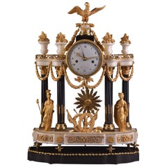 "Large Louis XVI Ormolu and Carrara Marble Portico Clock, ""Athena and Justice"""
