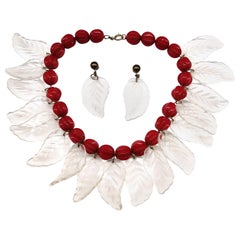 A large lucite 'leaf' necklace and earrings, USA, late 1940s
