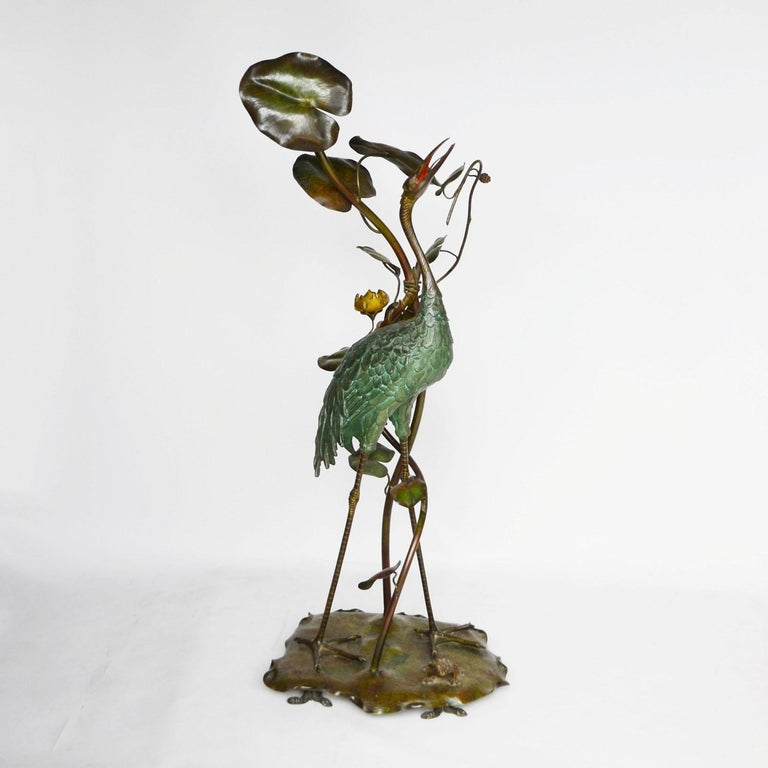 Large Early 20th Century Japanese Bronze Stork Sculpture, Unsigned, circa 1910 4