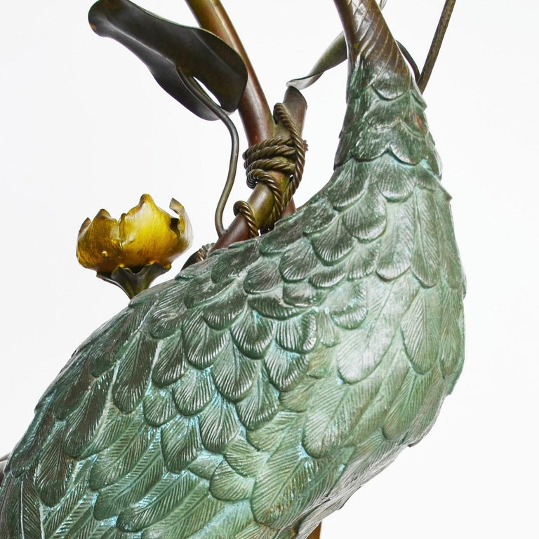 Large Early 20th Century Japanese Bronze Stork Sculpture, Unsigned, circa 1910 5