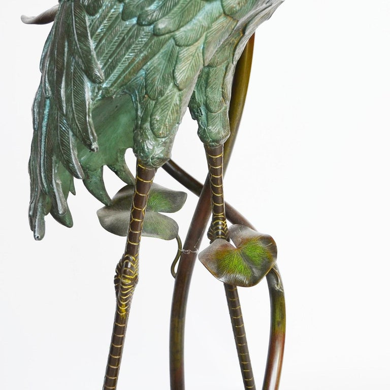 Large Early 20th Century Japanese Bronze Stork Sculpture, Unsigned, circa 1910 6