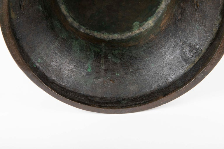 Large Meiji Period Patinated Japanese Bronze Vase For Sale 2