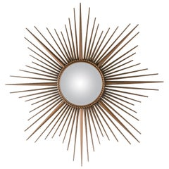 Large Metal Sunburst Mirror with Convex Glass