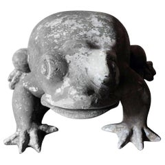 Large Mid-20th Century Lead Garden Model of a Frog
