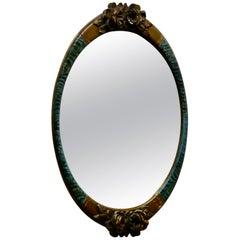 Large Mirror in Oval Ormolu Frame