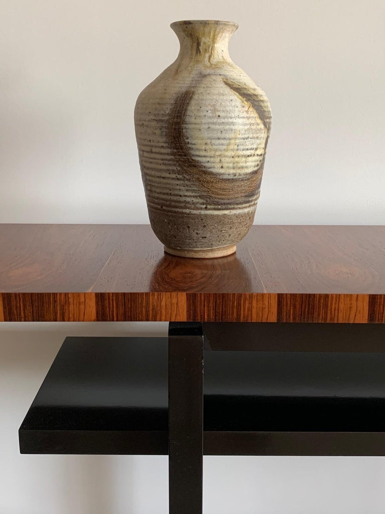 Mid-Century Modern Large Modernist Console Table with Floating Top