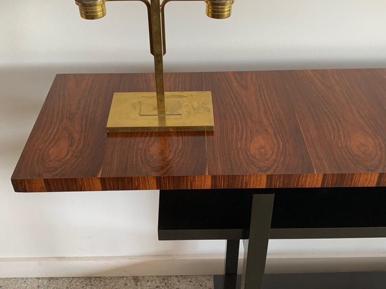 American Large Modernist Console Table with Floating Top