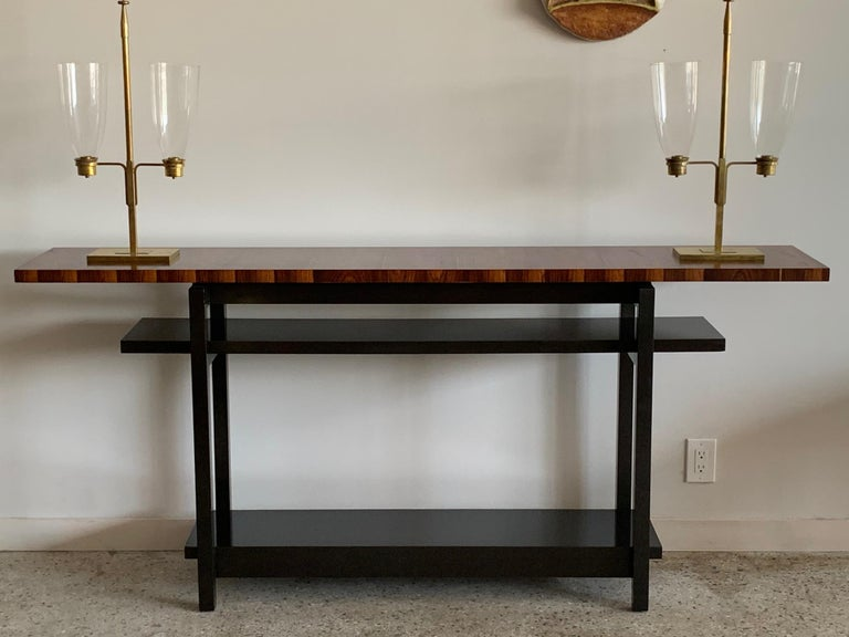 Late 20th Century Large Modernist Console Table with Floating Top