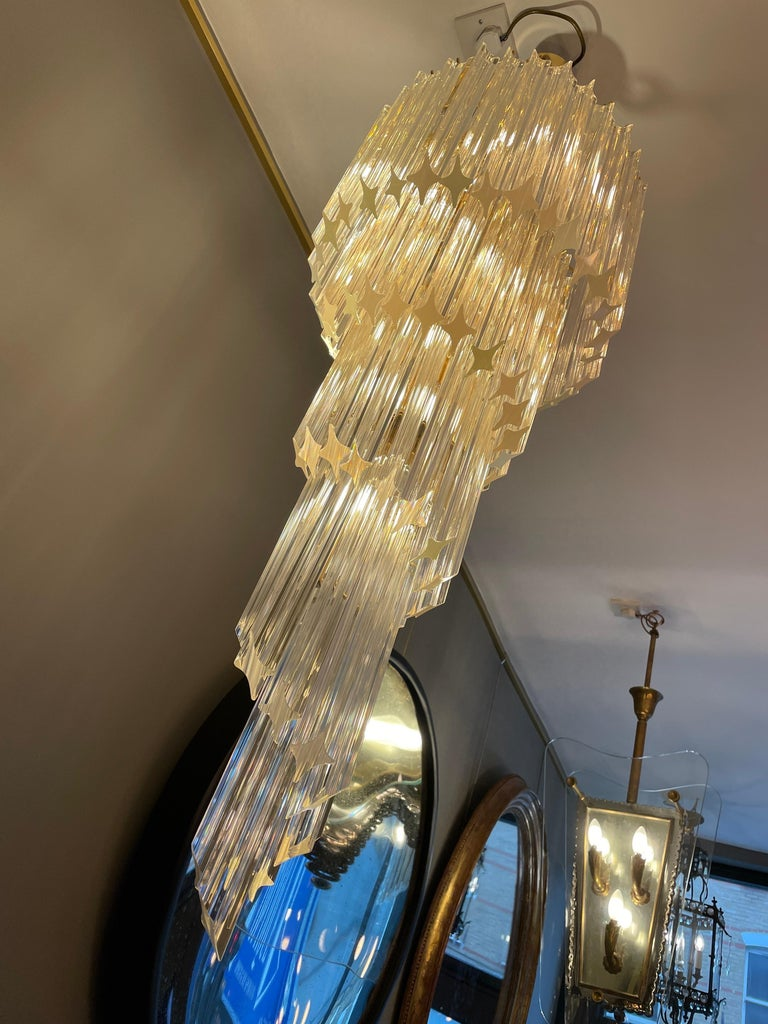 Large Murano Spiral Chandelier For Sale 3
