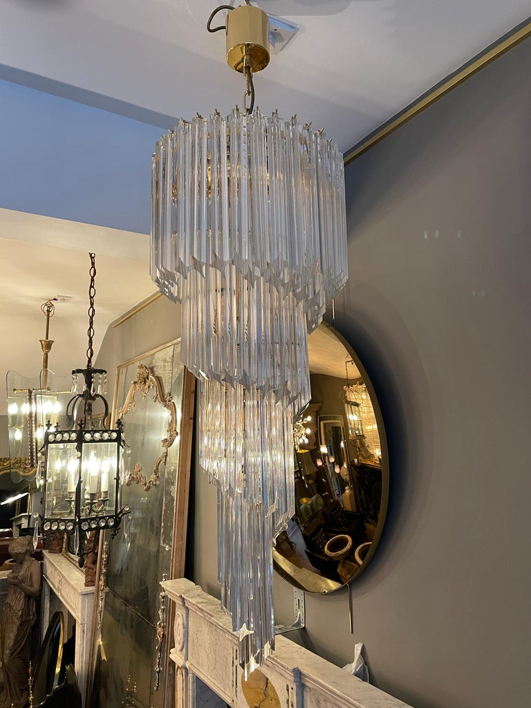 Mid-Century Modern Large Murano Spiral Chandelier For Sale