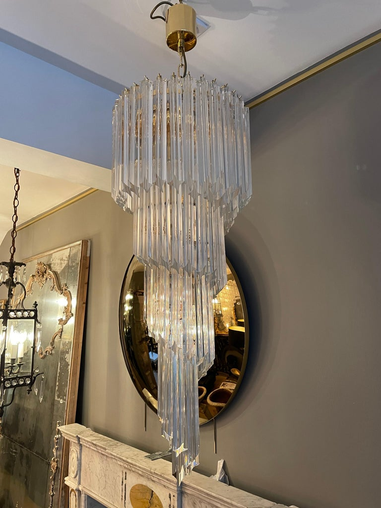 Italian Large Murano Spiral Chandelier For Sale
