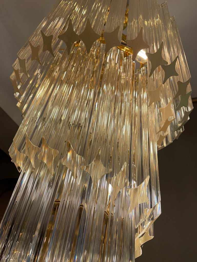 Large Murano Spiral Chandelier For Sale 1