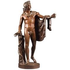 Large ( 94 cm) Neoclassical Italian Bronze of the Apollo Belvedere, 19th Century