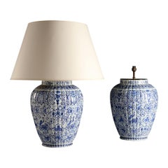 Large Pair of 19th Century Blue and White Delft Vases as Table Lamps