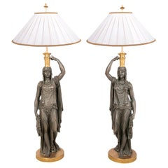 Large Pair of 19th Century Bronze and Ormolu Egyptian Lamps