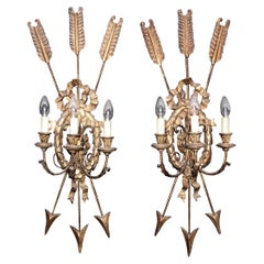 Large Pair of 19th Century Giltwood Wall Lights