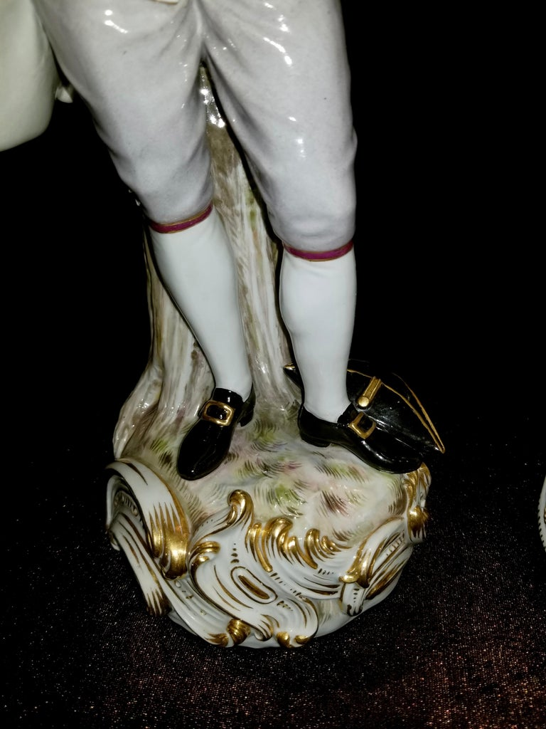 Large Pair of 19th Century Meissen Porcelain Figures of Lovers Singing For Sale 5