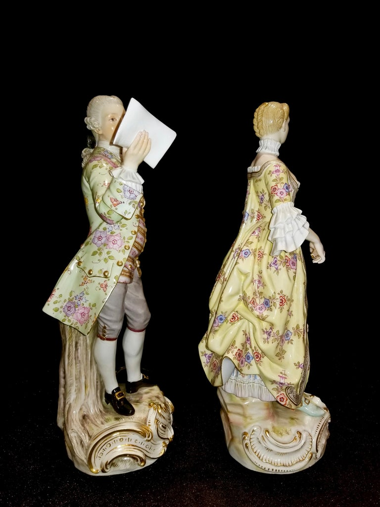German Large Pair of 19th Century Meissen Porcelain Figures of Lovers Singing For Sale
