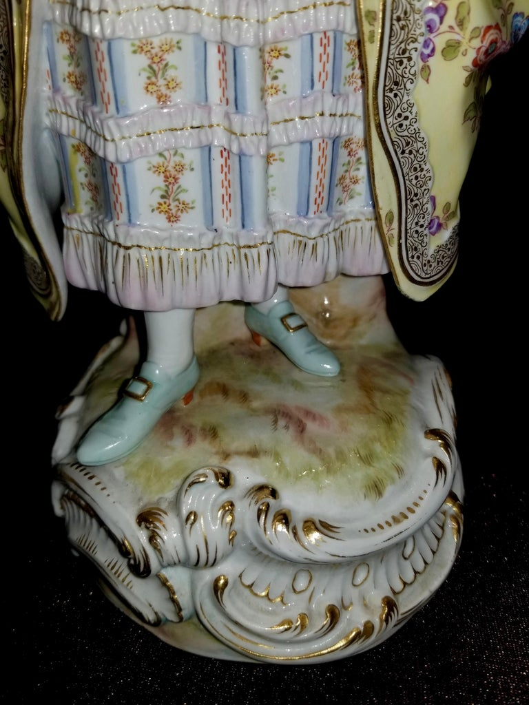 Large Pair of 19th Century Meissen Porcelain Figures of Lovers Singing For Sale 1