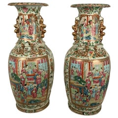 Large Pair of Antique Canton Rose Medallion Baluster Vases