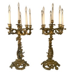 Large Pair of Antique Gilt Bronze French Louis XV Style Candelabra