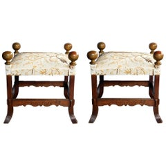 A Large Pair of Arts and Crafts Style Square Stools
