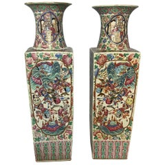 Large Pair of 'Canton Famille Rose' Vases