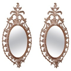 Large Pair of Chippendale Style Carved Pine Oval Mirrors