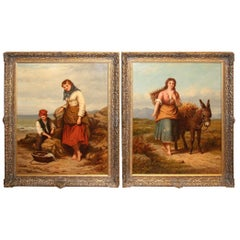 Large Pair of English Oil Paintings by Walter Jackson