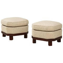 Large Pair of French Art Deco Footstools or Ottomans with Mahogany Bases