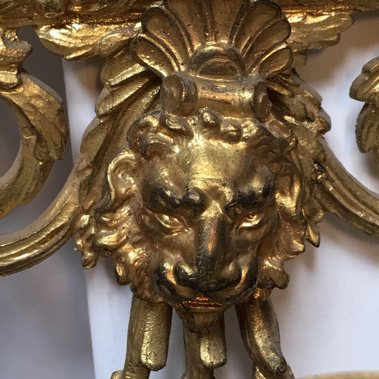 Large Pair of French Bronze Mirrored Sconces For Sale 5