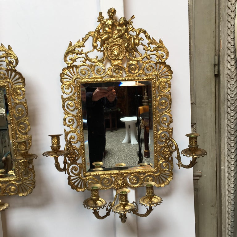 Louis XVI Large Pair of French Bronze Mirrored Sconces For Sale